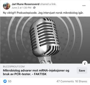 Jarl Rune Nilsson, som kaller seg Rosensverd på Facebook, har blant annet delt podcasten i gruppen Røde Luer. De har arrangert flere av demonstrasjonene foran Stortinget mot myndighetenes koronatiltak.