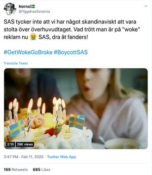 Twitter-kontoen «Yggdrasilnorna» publiserte kritikk av filmen 11. februar kl. 15.47.