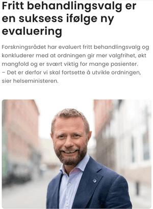 Bent Høie hevder Fritt behandlingsvalg er en suksess i en pressemelding på Høyres nettsider.