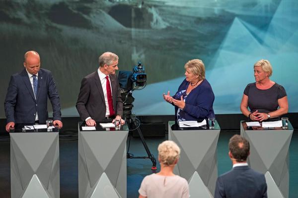NRKs partilederdebatt i Arendal 14. august 2017.