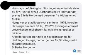 Innlegg fra Amundsens kommentarfelt på Facebook.
