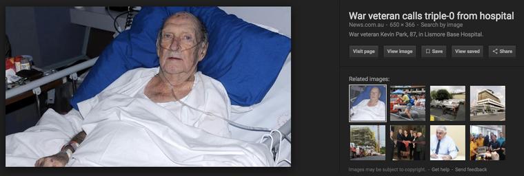 Bildet stammer fra en sak fra Australia i 2010 om krigsveteranen Kevin Park som ikke fikk tak i sykepleiere på sykehuset.