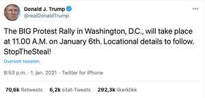 President Trump tvitret om demonstrasjon mot valgfusk 1. januar.