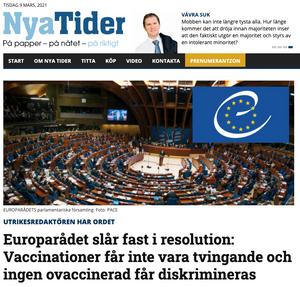 En artikkel fra den høyreekstreme, svenske avisen Nya Tider er spredt blant nordmenn på Facebook.
