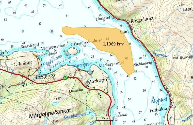 Det markerte feltet viser det reelle området for deponiet, ifølge Nussir.
