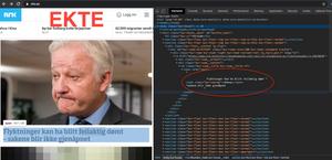 Bildet viser «inspisér»-funksjonen i Google Chrome.