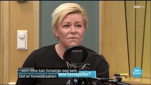 Finansminister Siv Jensen (Frp) snakket om økende ulikhet på Politisk kvarter.