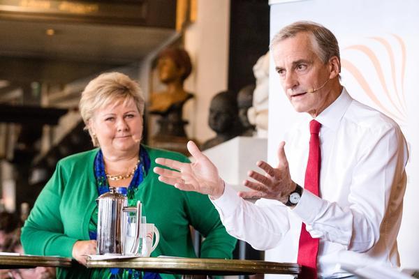 Valgkampens første duell mellom statsminister Erna Solberg (H) og leder i Arbeiderpartiet, Jonas Gahr Støre i Oslo onsdag.
