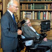 Fysiker Stephen Hawking besøkte den svenske kongen på slottet i Stockholm i 2015.