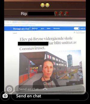 Bildet viser en Snapchat-melding der en manipulert artikkel fra Stavanger Aftenblad blir spredt.