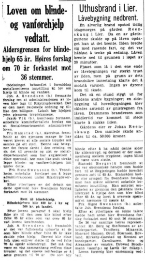 Aftenpostens omtale av behandlingen i Odelstinget, 6. juli 1936.