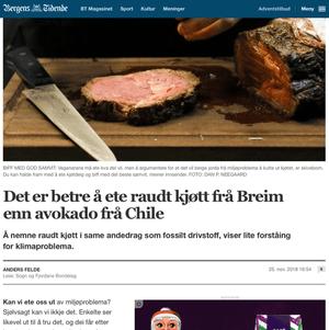 Skjermdump fra Bergens Tidende