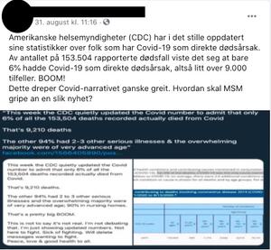 Innlegget er hentet fra en norsk Facebook-gruppe som fremmer QAnon-konspirasjonen.