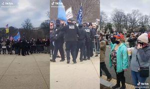 Her sees det hvordan gjerdet var litt åpent allerede før det ble flyttet på (venstre), hvordan det flyttes og åpnes mer i det politiet trekker seg tilbake (midten) og hvordan det virker å ha vært personer innenfor  også før menneskemengden passerte gjerdet.