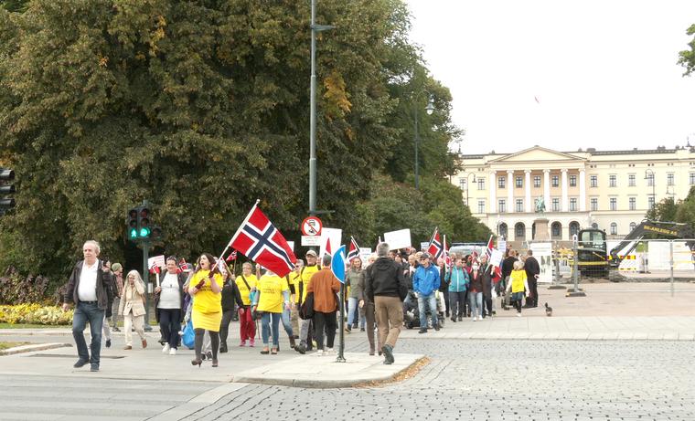 Deltakerne i Grunnlovsmarsjen sang nasjonalsangen og ropte slagord til støtte for ytringsfriheten på vei fra Slottet til Stortinget.