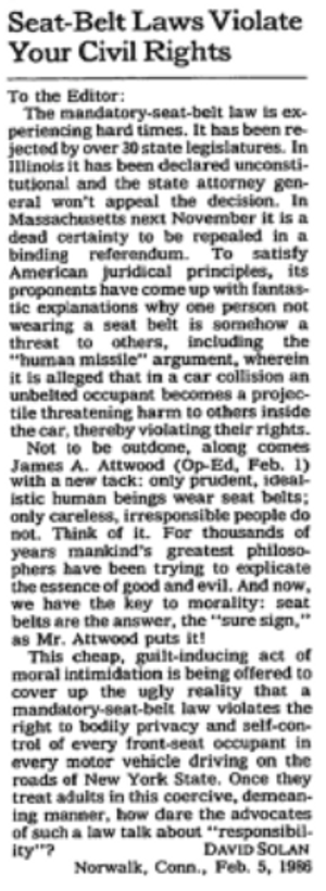 """""""Letter to the editor"""", New York Times 26. februar 1986"""