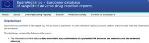 Bildet viser første punkt i advarselen man må bekrefte å ha forstått før man går inn i rapportsystemet i EU-databasen.