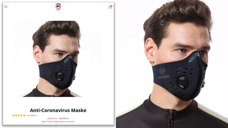 Gjennom bildesøk finner vi igjen bildet av mannen med masken, men da med merkenavnet «Xintown».
