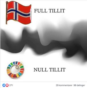 Et populært meme-bilde i grupper der brukerene er sinte på FN-jakkemerket.