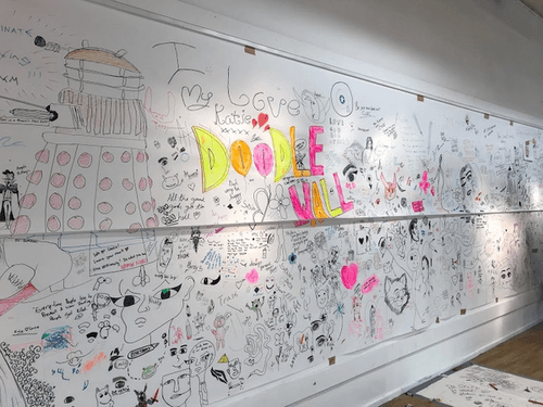 Walls covered in drawings.