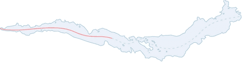 Line drawing of lake with link drawn up middle