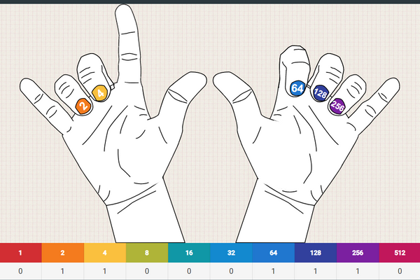 Screenshot of hands web app showing two hands with binary number columns on fingernails