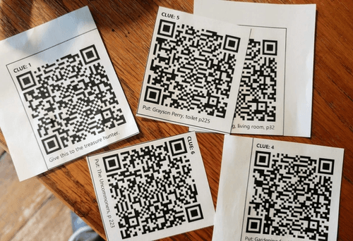 Cut out QR codes on the table