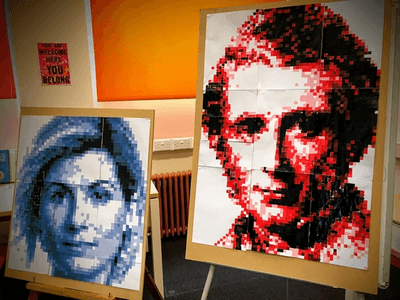 Finished pixel portraits of Jodie Whittaker and John Ruskin