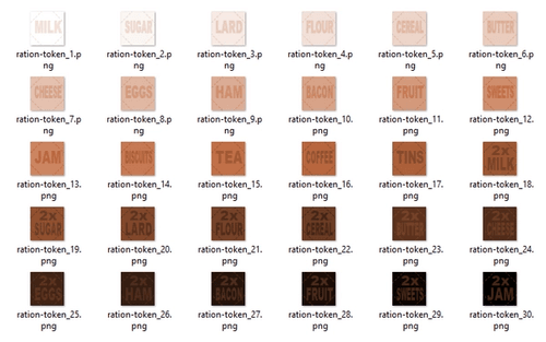 The ration token palette files ready for the printers.