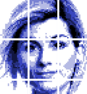 Picture of woman make from squares.
