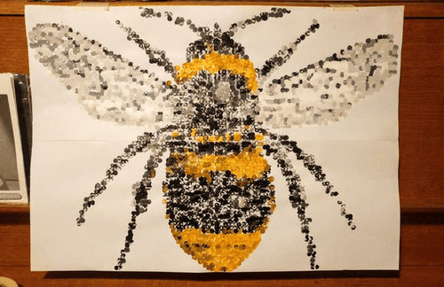 Bee painting made from paint dots.