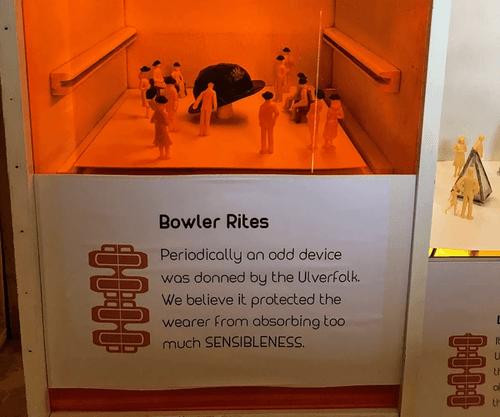 Model people in bowler hats