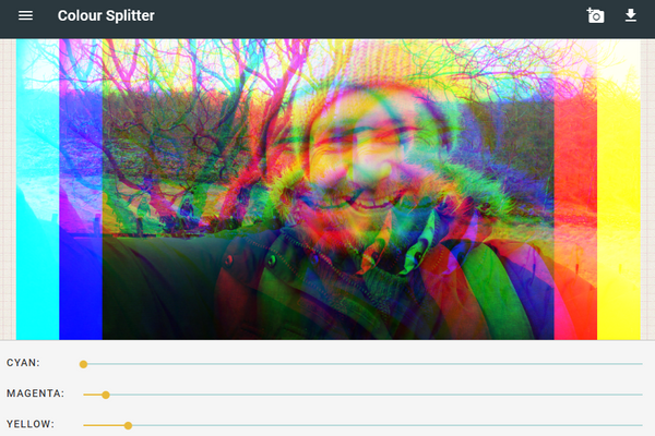 Screen shot of web app showing photo split into different colours.