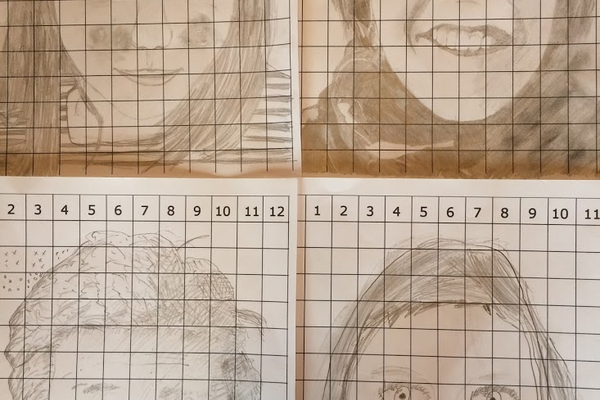 Two drawings made with the portrait grid maker.