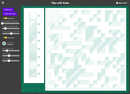 Title bar at the top, sliders and buttons on the left and lots of boxes drawn on the right full of lines.