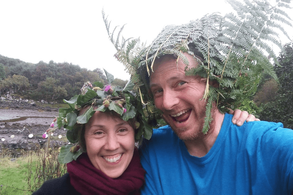 chris and jennie wearing leaves and bracken