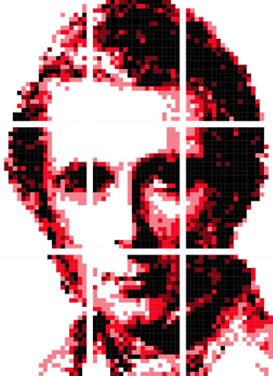 Picture or John Ruskin made from squares.