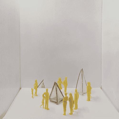 Model people with mini lantern