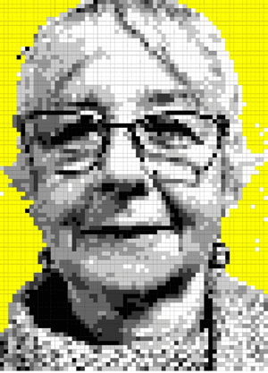 Woman portrait made from squares.