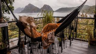 View from hammock at glamping boutique hotel The Birdhouse El Nido, Philippines