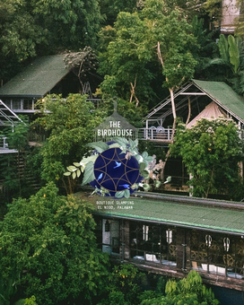 Aerial view of glamping boutique hotel The Birdhouse El Nido in Palawan