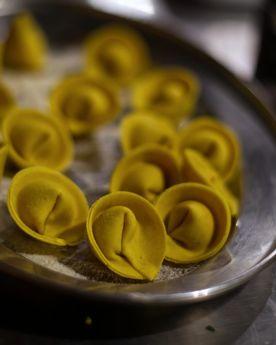 Close up shot of a tray of fresh ravioli