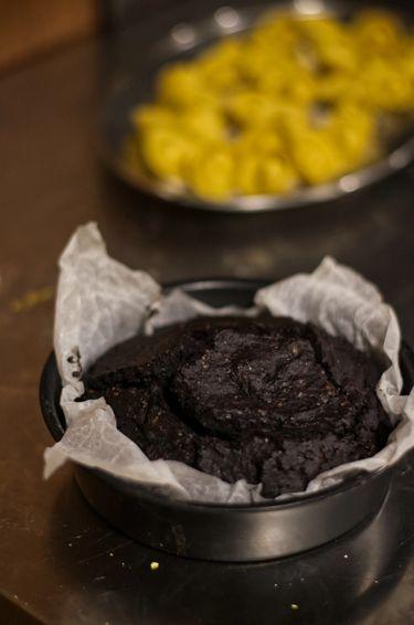 Close up shot of a vegan chocolate cake
