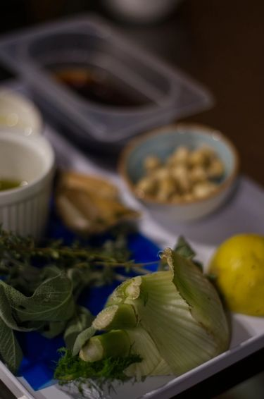 Fresh ingredients prepared ahead of a cooking class