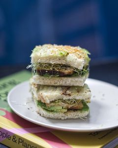 Two square sandwiches stacked on a plate, placed on a book