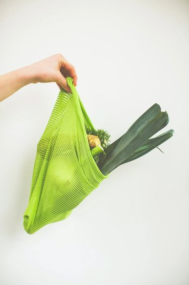 Hand holding out vegetable mesh bag filled with vegetables