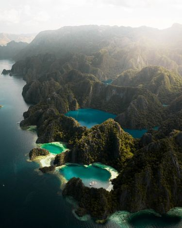 Aerial view of rugged Palawan islands and pristine waters