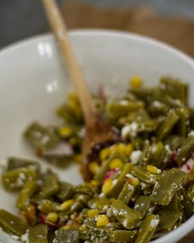 Close up pf cactus salad (nopales salad/nopalitos salad) in a bowl