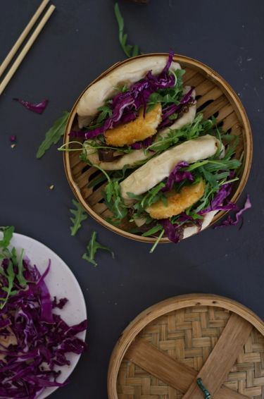 Bao buns (gua bao) in a bamboo steamer from above