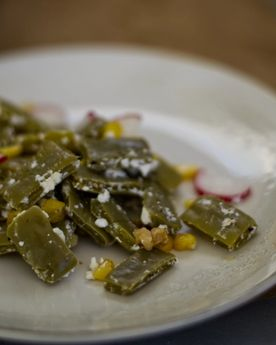 Close up of cactus salad (nopales) in a plate